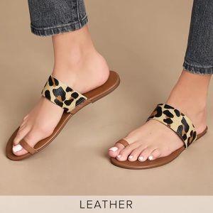 Lulus NWT Leather Tessa Leopard Calf Hair Sandals